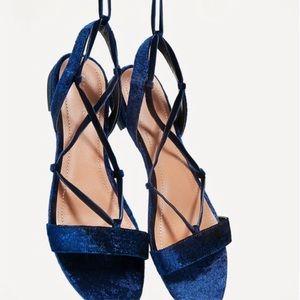 Zara Blue Crushed Velvet Lace Up Sandals.